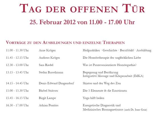 Tag der offenen Tür 2012 Programm